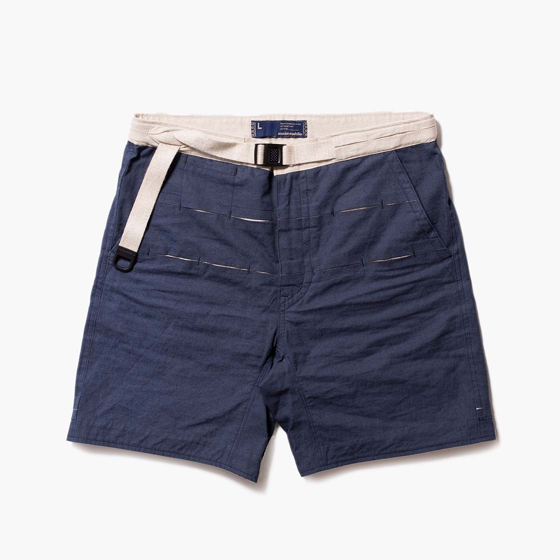 Cotton Linen Canvas Loop Tape Shorts