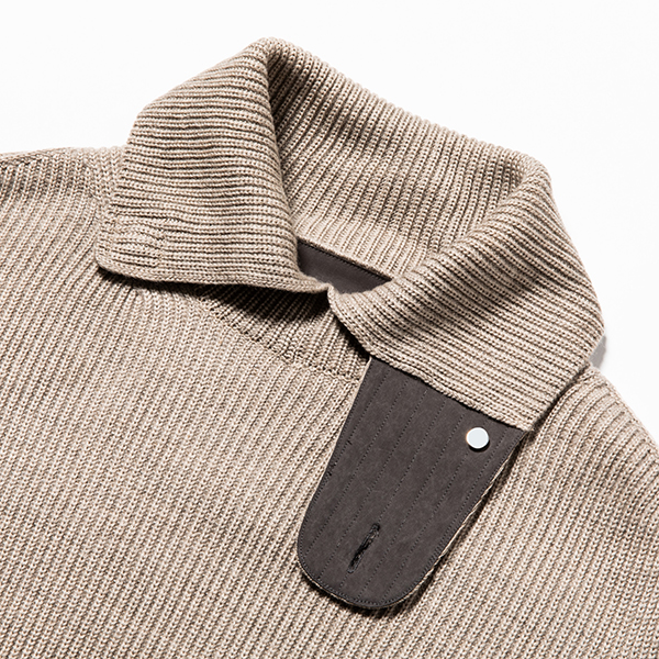 Open Collar Turtleneck Sand