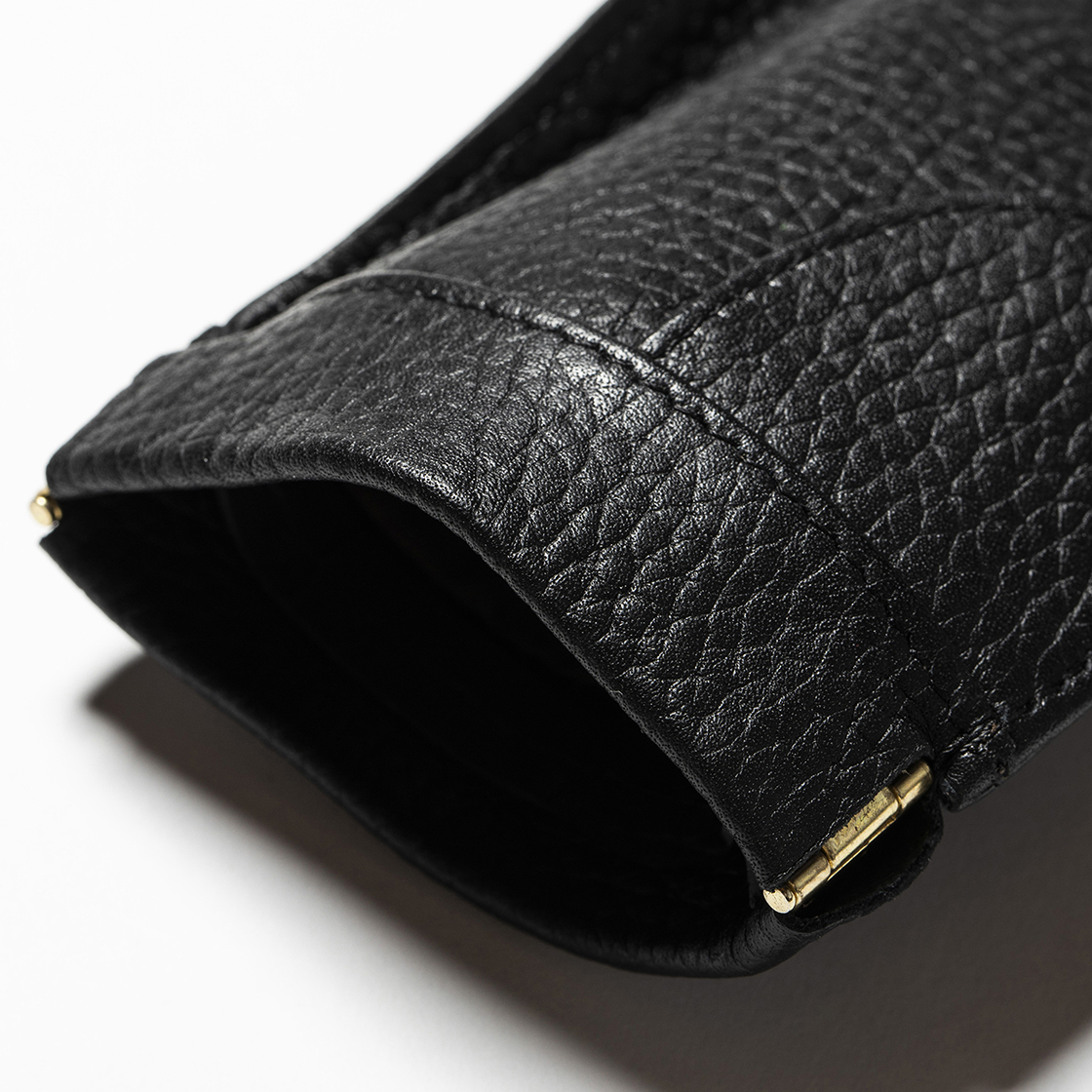 Leather Money Clip Off Black
