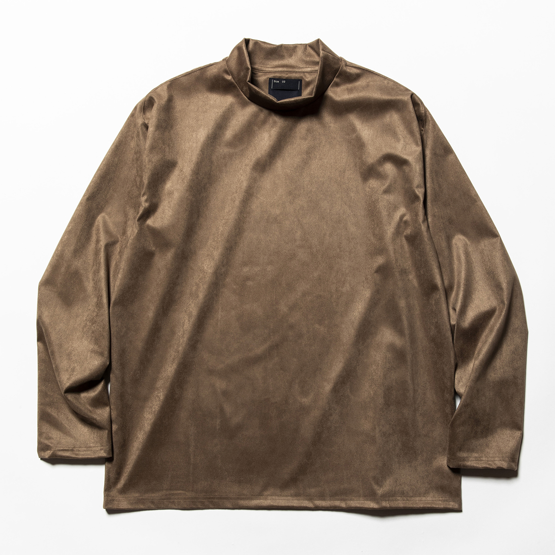 Suede Split Sleeve Mockneck Brown