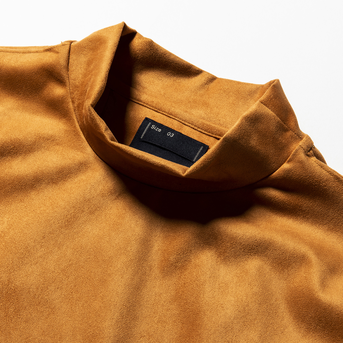 Suede Split Sleeve Mockneck Light Brown