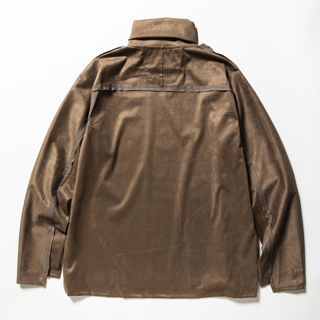 Suede Split Sleeve Turtleneck Brown