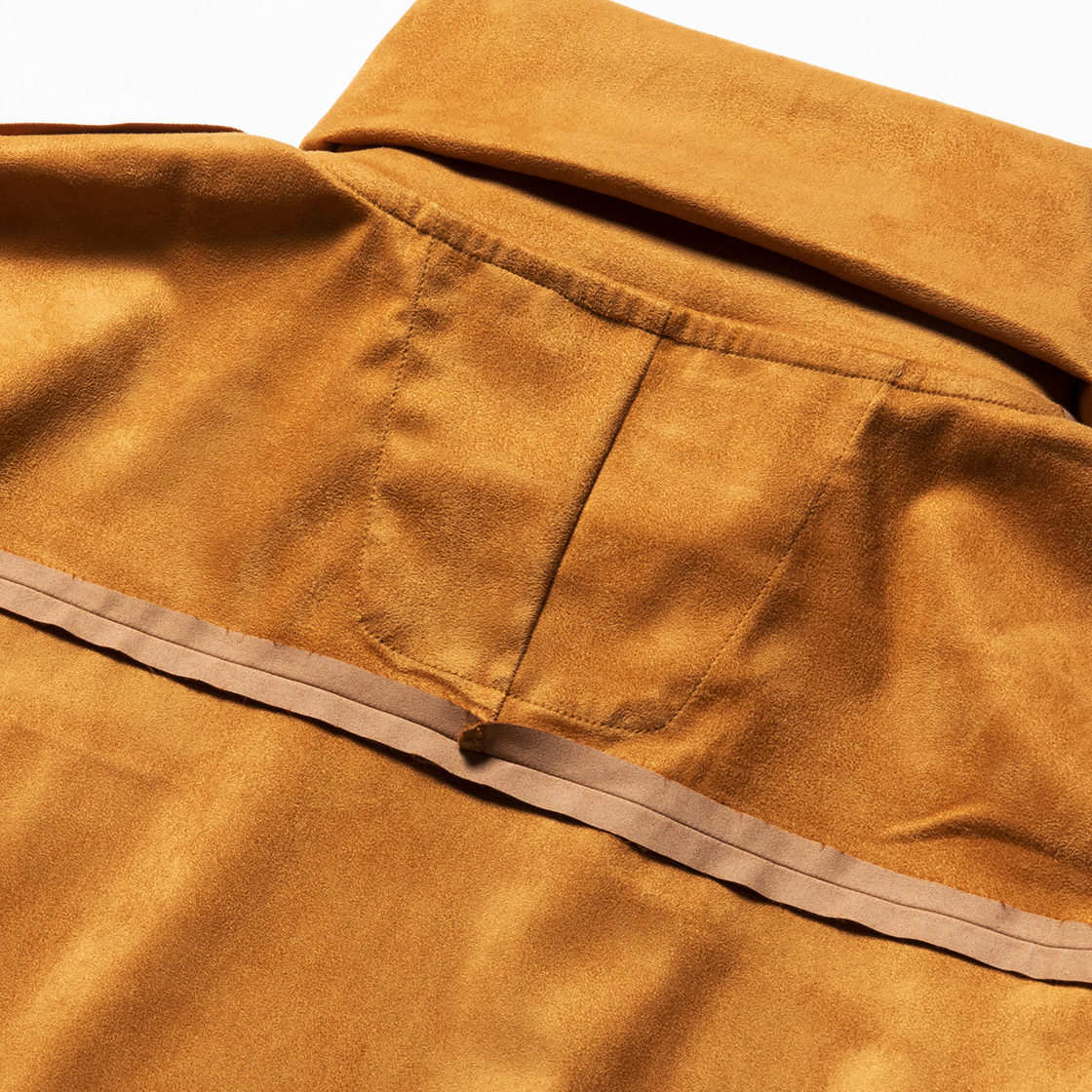 Suede Split Sleeve Turtleneck Light Brown