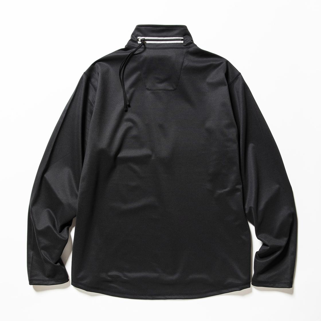 Twill Knit Half Zip Off Black