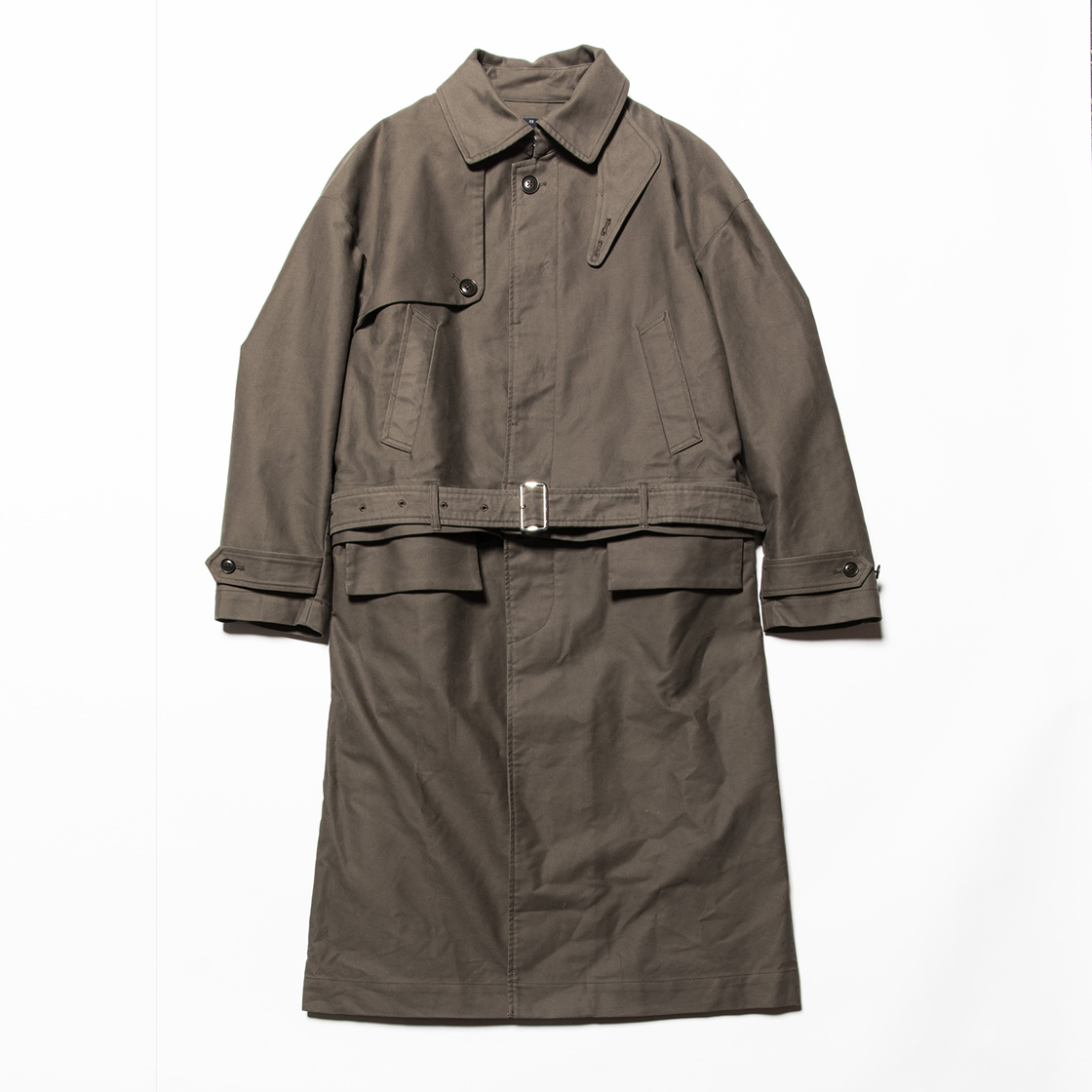 Moleskin Split Over Coat Olive