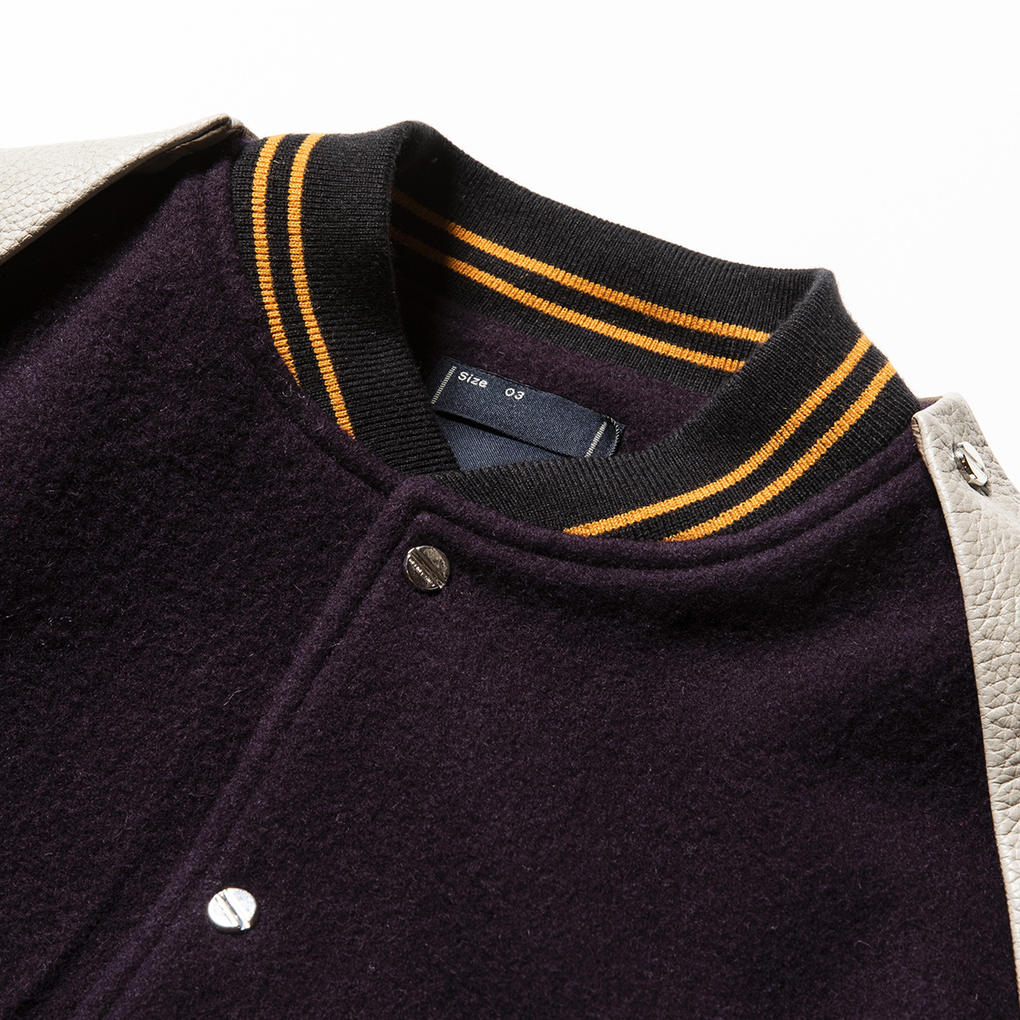 Retro Fleece Melton Varsity Jackets D.Purple