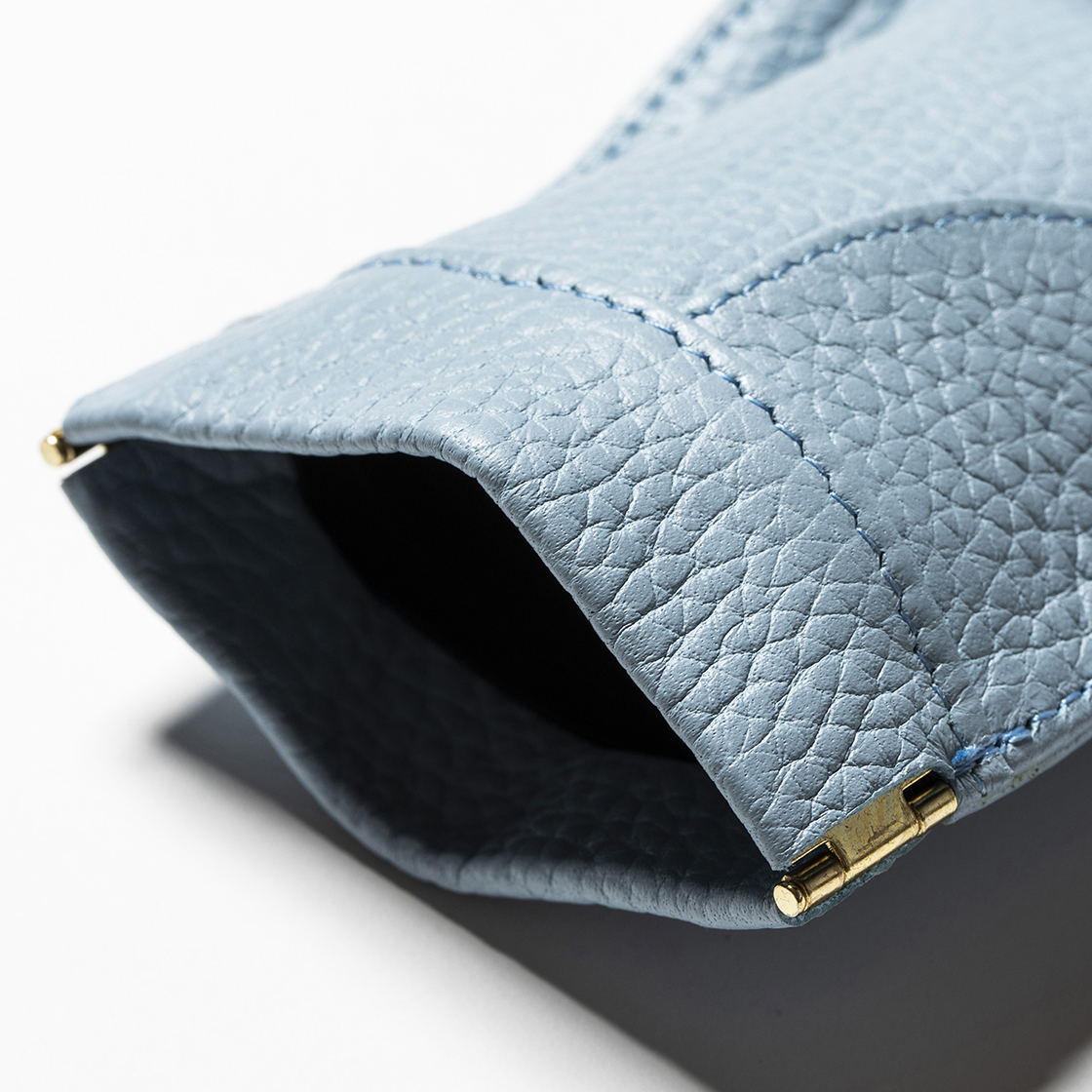 Leather Money Clip Ice Blue