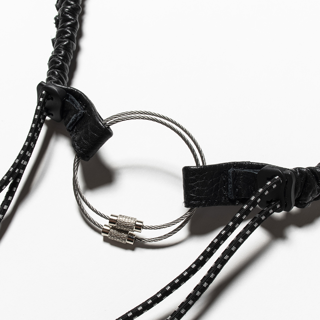 Bungee Leather Neck Strap Off Black