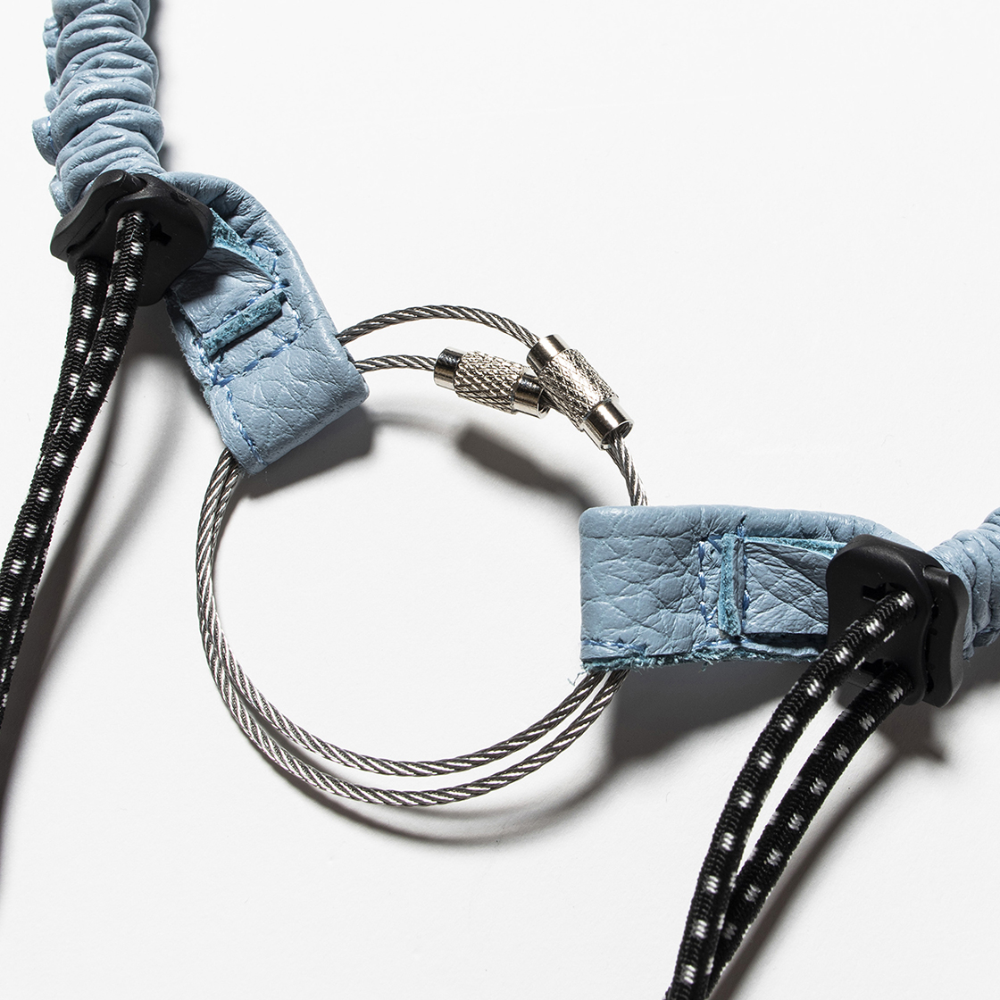 Bungee Leather Neck Strap Ice Blue