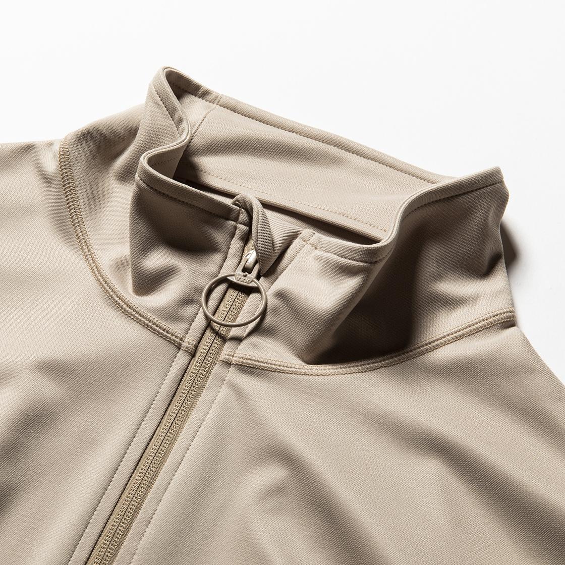 Twill Knit Half Zip Nude