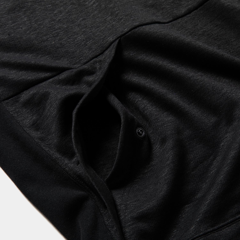 Ice Linen Loopback Hoodie / Off Black