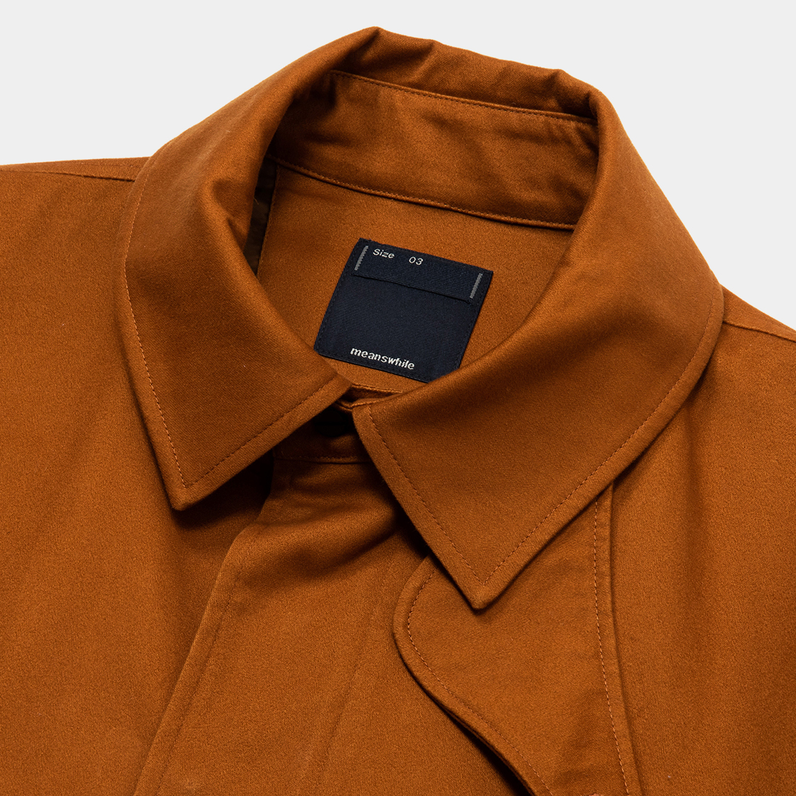 Satin Flannel Over Short Coat / Brown